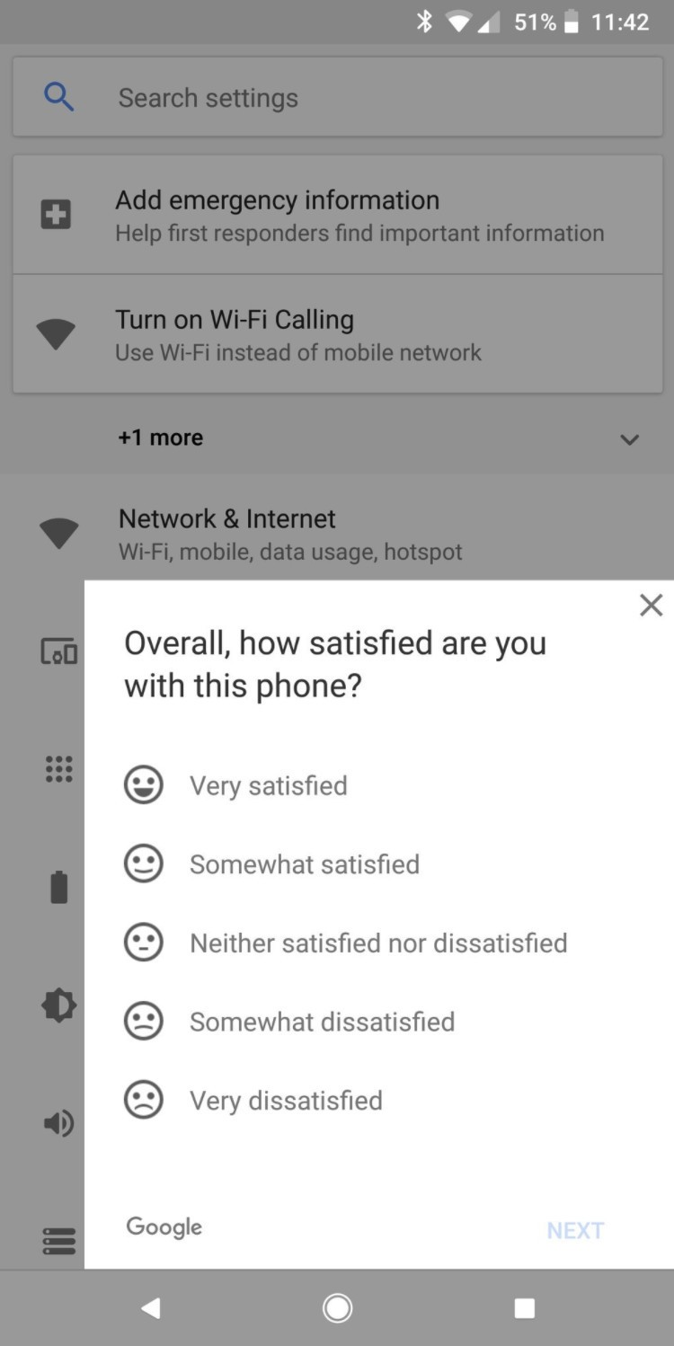 The Pixel 2 XL's Settings app is showing popup survey