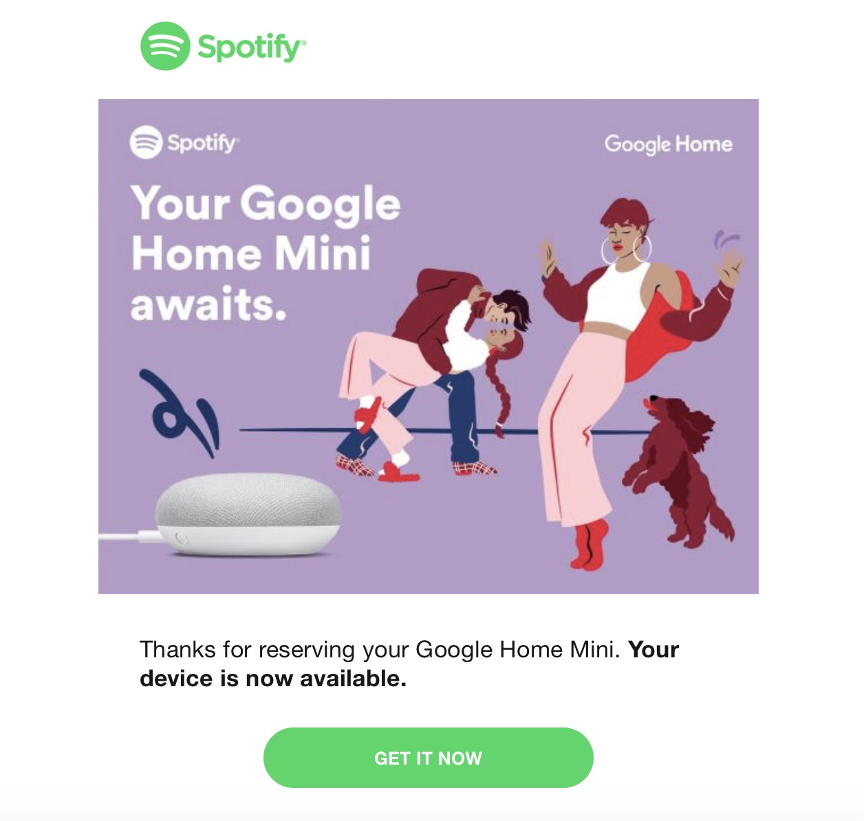 Get a free Google Home Mini when you sign up for Spotify