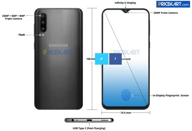 Samsung Galaxy A50 image reveals teardrop notch, triple camera, in