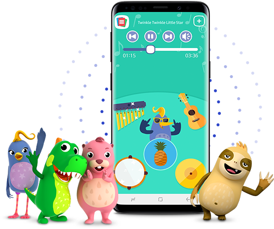 Kids mode on a mobile surrounded by its noteable characters