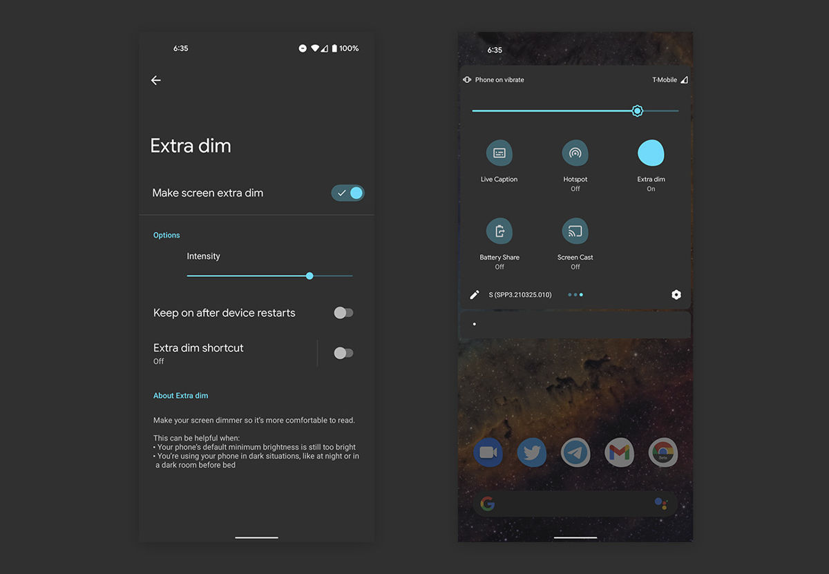 Android 12 will have a feature that won't burn your retinas when you reach for your phone at night